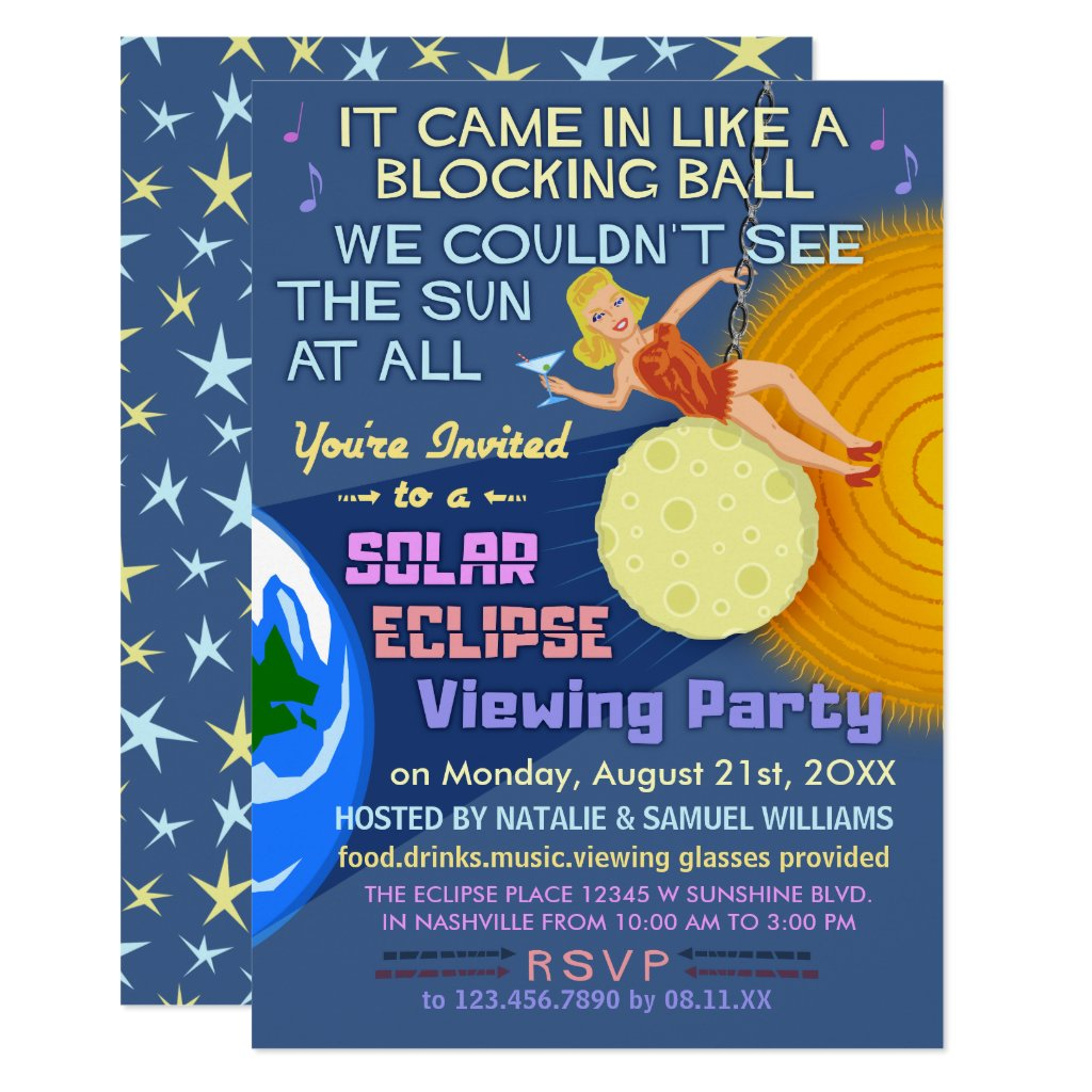 Solar Eclipse Party Funny Retro Sun Viewing 2017 Card