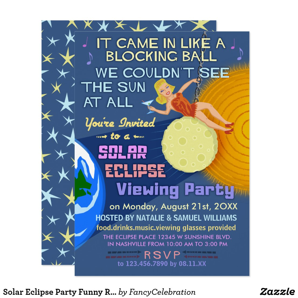 Solar Eclipse Party Funny Retro Sun Viewing 2017 Card