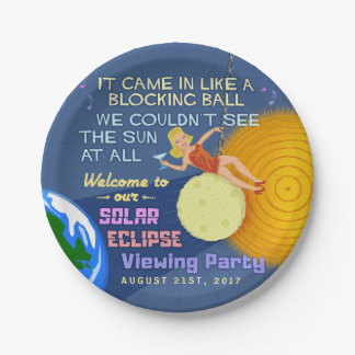 Solar Eclipse Party Funny Retro Sun Viewing 2017 Paper Plate