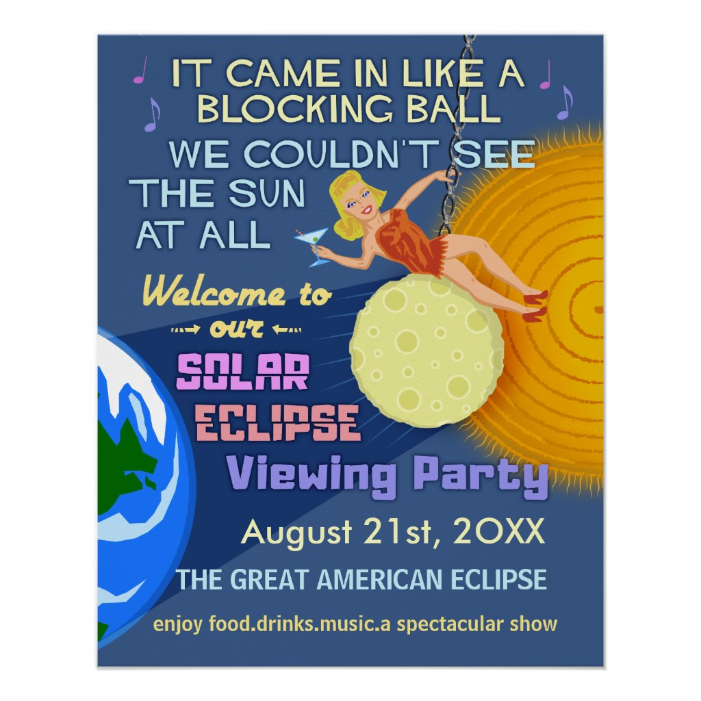 Solar Eclipse Party Funny Retro Sun Viewing 2017 Poster