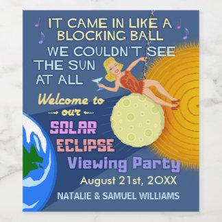 Solar Eclipse Party Funny Retro Sun Viewing 2017 Wine Label