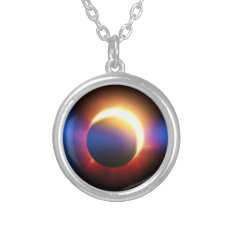Solar Eclipse Silver Plated Necklace at Zazzle