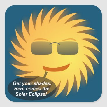 Beach Themed Solar Eclipse Square Sticker