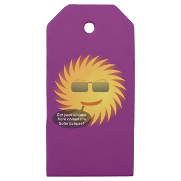 Beach Themed Solar Eclipse Wooden Gift Tags