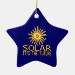 Solar Energy Future Double-Sided Star Ceramic Christmas Ornament