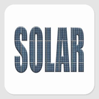 Solar energy photovoltaic panels with the word Sol Square Sticker