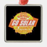 Solar Energy Solution Square Metal Christmas Ornament