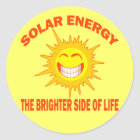 SOLAR ENERGY THE BRIGHTER SIDE OF LIFE CLASSIC ROUND STICKER