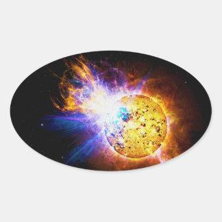 Solar Flare from the Star EV Lacertae EV Lac Oval Sticker