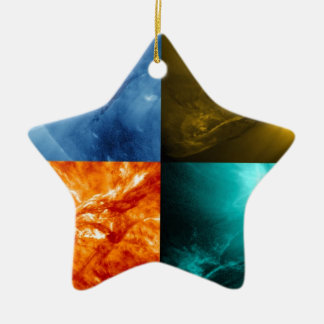 Solar Flare or Coronal Mass Ejection Sun Collage Ceramic Ornament