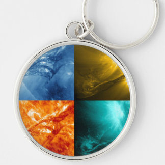 Solar Flare or Coronal Mass Ejection Sun Collage Keychain