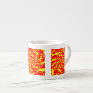 Solar Flares Red Yellow Spiral Fractal Espresso Cup