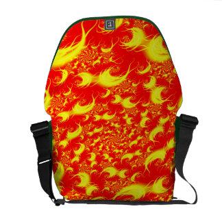 Solar Flares Red Yellow Spiral Fractal Messenger Bag