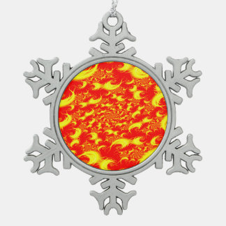 Solar Flares Red Yellow Spiral Fractal Snowflake Pewter Christmas Ornament