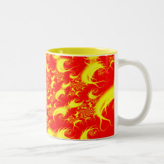 Solar Flares Red Yellow Spiral Fractal Two-Tone Coffee Mug