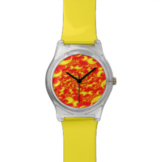 Solar Flares Red Yellow Spiral Fractal Watch