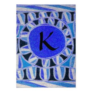 SOLAR GOLD MONOGRAM,bright blue turquase black Card