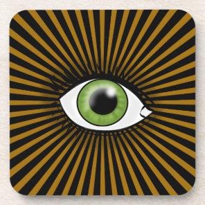 Solar Green Eye Beverage Coaster