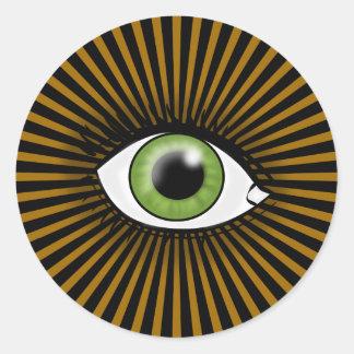 Solar Green Eye Classic Round Sticker