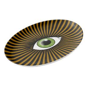 Solar Green Eye Porcelain Serving Platter