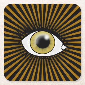 Solar Hazel Eye Square Paper Coaster