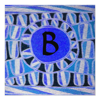 SOLAR MONOGRAM, blue turquase black white Card