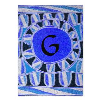 SOLAR MONOGRAM,bright blue turquase black white Card