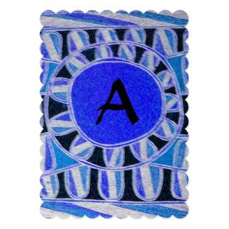 SOLAR MONOGRAM Geometric BlueTurquoise White Black Card