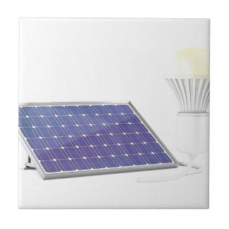 Solar panel and light bulb ceramic tile