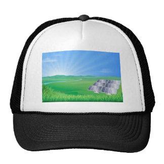 Solar panel landscape illustration trucker hat