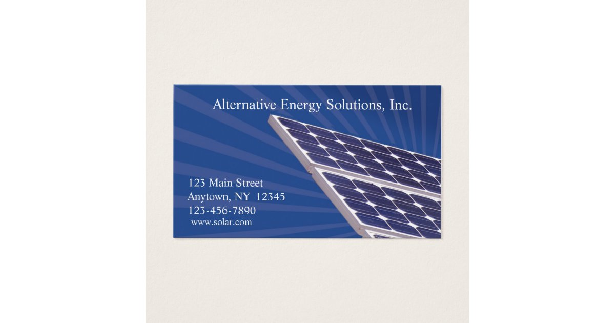 Solar Panels Business Card | Zazzle.com