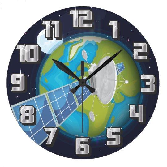 solar Panels cartoon Large Clock