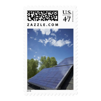 Solar panels on roof stamp