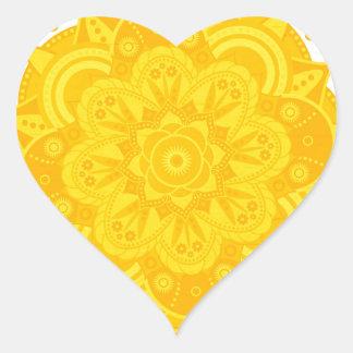 Solar Plexus Chakra Mandala Heart Sticker