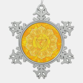Solar Plexus Chakra Pewter Snowflake Ornament at Zazzle