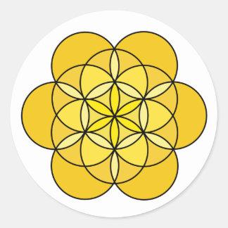 Solar Plexus Flower of Life Classic Round Sticker