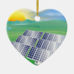 Solar power energy illustration ceramic heart decoration
