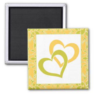 Solar Power, Olive Green, Damask Wedding Favor 2 Inch Square Magnet