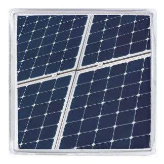 Solar power panel silver finish lapel pin