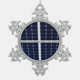 Solar power panel snowflake pewter christmas ornament