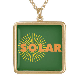 Solar Power Sun Gold Plated Necklace