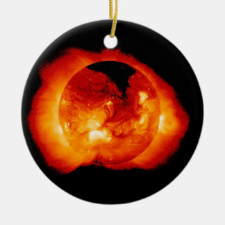 Solar Radiation and Flares Emitted by the Sun Ceramic Ornament
