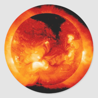 Solar Radiation and Flares Emitted by the Sun Classic Round Sticker