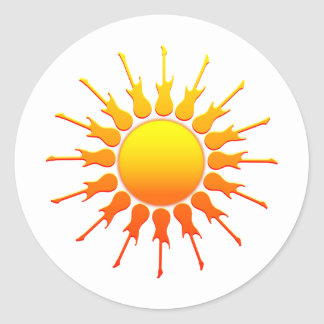 Solar Rock, Sun With Guitar Rays With Shading Classic Round Sticker