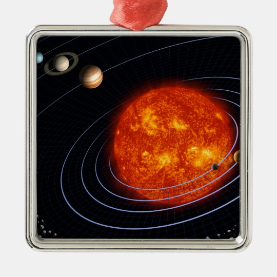 Solar System 8 Metal Ornament