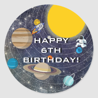 Solar System Birthday Party, Circle Classic Round Sticker