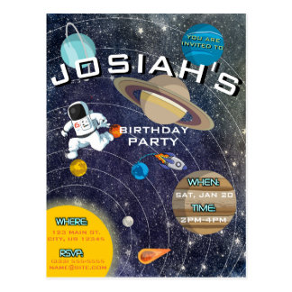 Solar System Birthday Party Invitation Postcard
