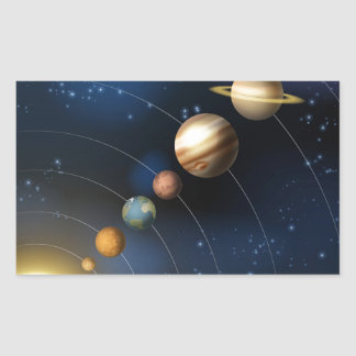 Solar system from space rectangle sticker