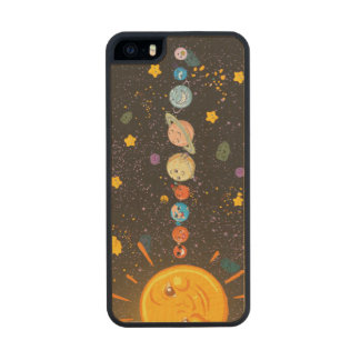 Solar System Funny Planets Wood Phone Case For iPhone SE/5/5s