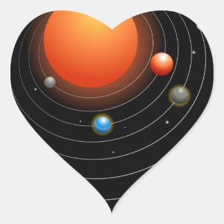 Solar System Graphic Heart Sticker